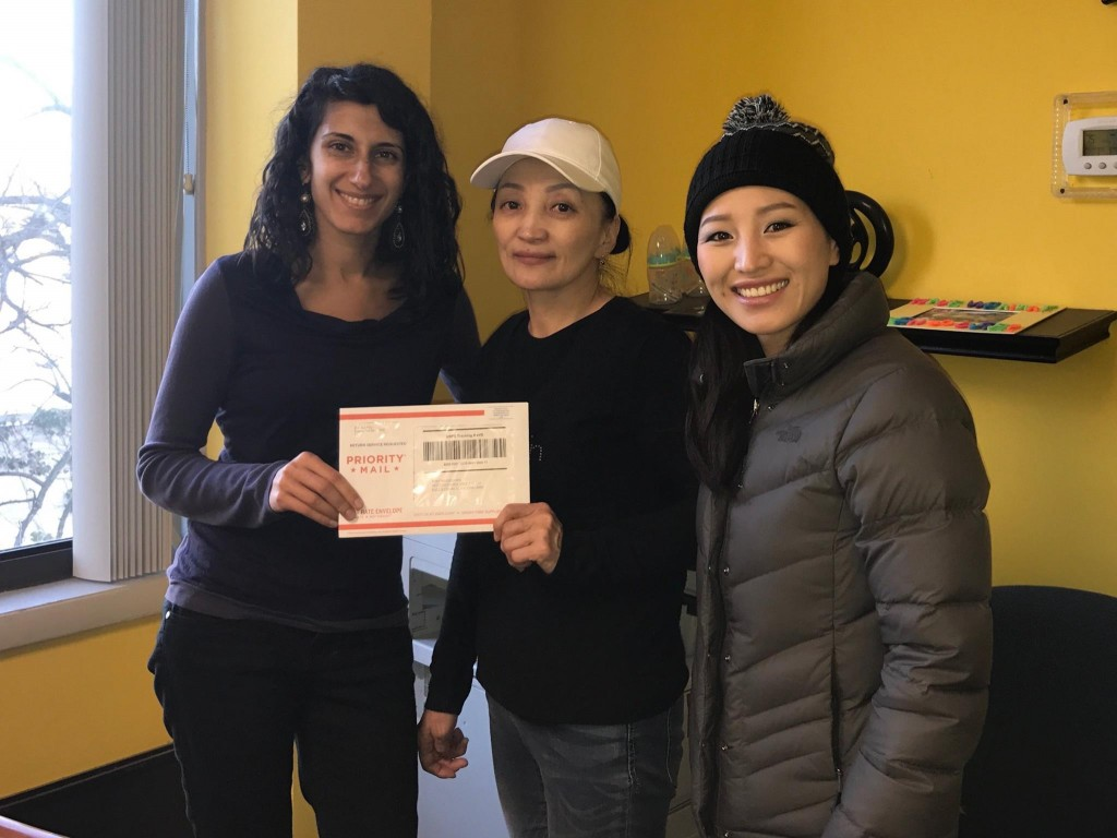 Sarah and clients wgreencard