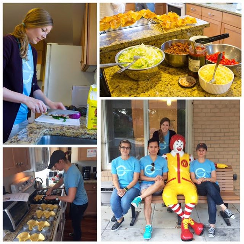 Above: HKS employees, including Sepanski (top left), volunteer as Guest Chefs during the HKS annual Month of Service