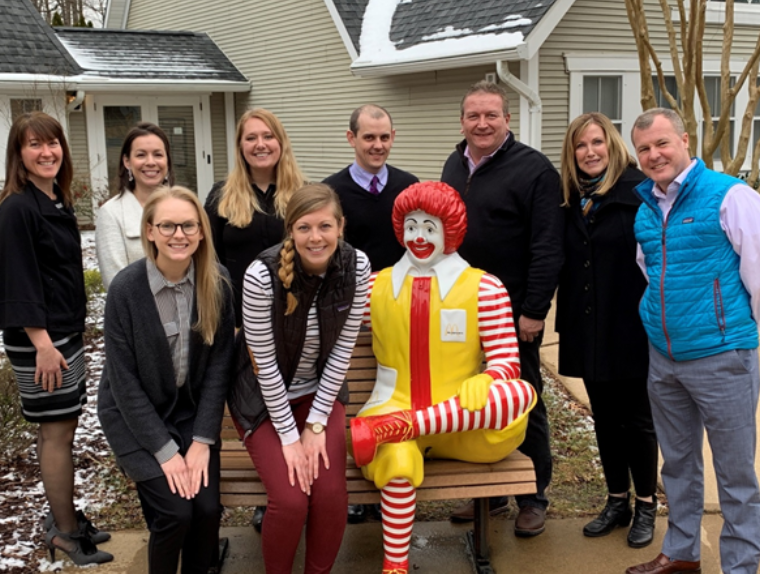 Above: Members of the RMHCDC Expansion Project Team, including Frechette (back row, third from right), RMHCDC CEO Karen Torres (back row, second from right), and Sepanski (front, next to Ronald McDonald)