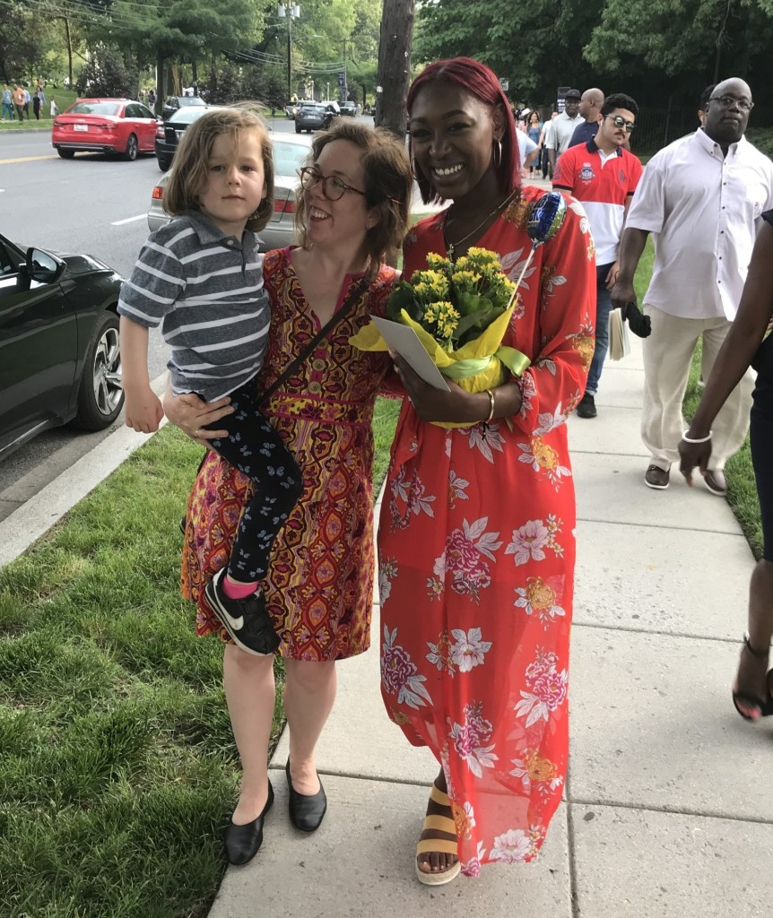 Karyn and her son at Alicia's graduation in May