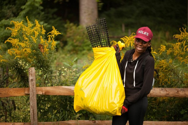 A volunteer cleaning up in Rock Creek Park DC