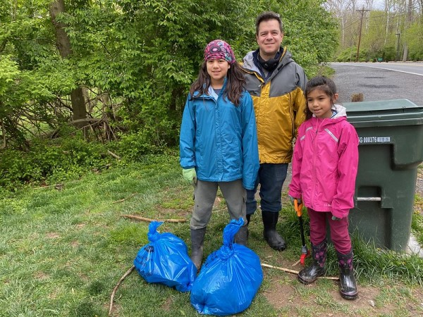 A family doing a cleanup in Montgomery County.
