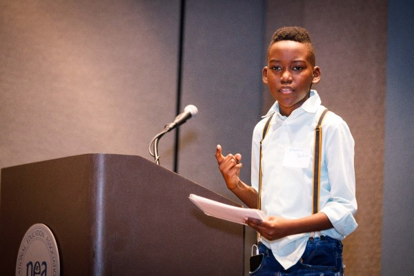 One of Mikva Challenge DC's in-person Soapbox events, prior to COVID-19