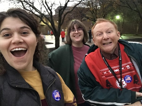 Lauren, Kelly, and Eric after voting in 2018